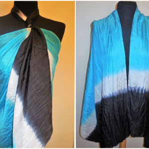 Pure Silk Scarf Extra Large Turquoise Blue Black A